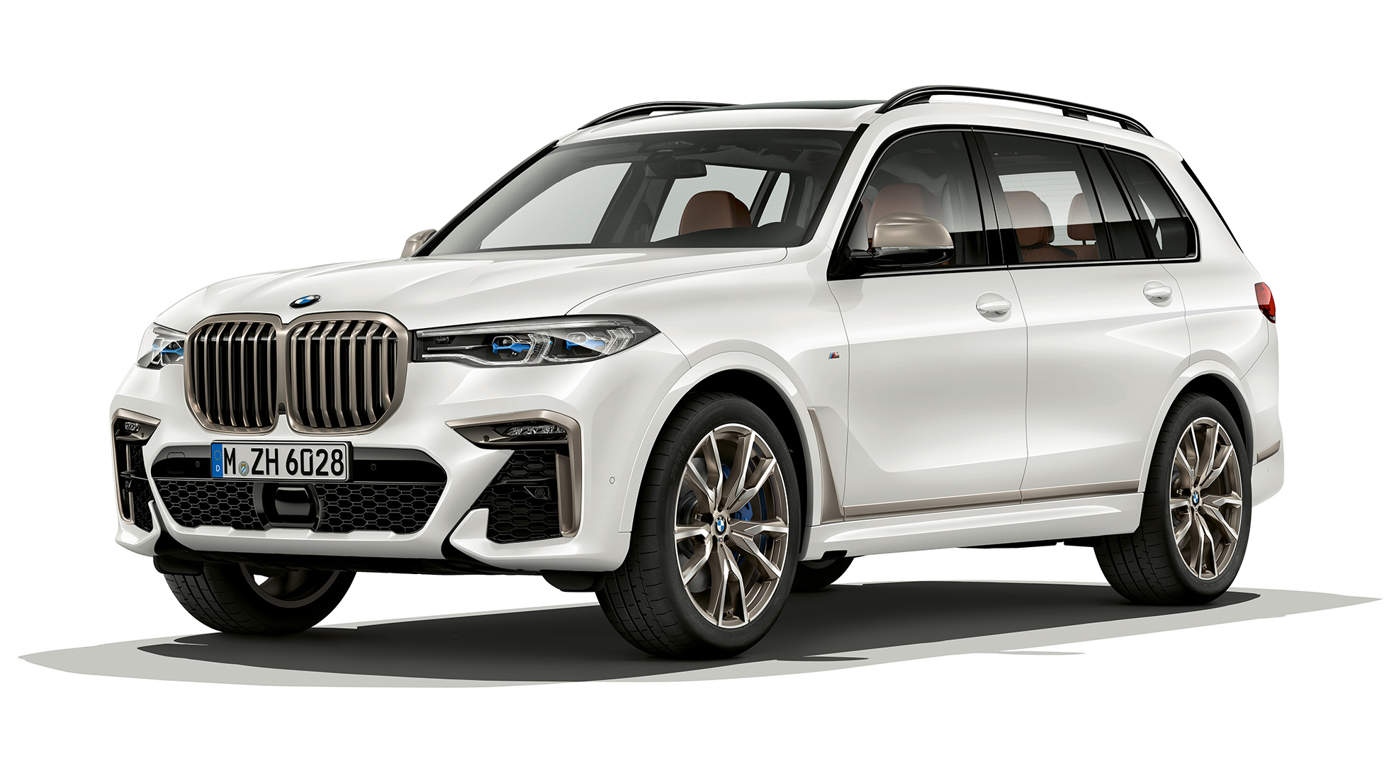 Studio shot of the BMW X7 three-quarter front view als BMW X7 M50d